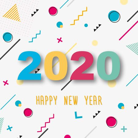 Creative design of a New Year card of 2020 on a modern background. Bright poster in the style of Memphis. Base of geometric elements and color numbers. Vector illustration. Zdjęcie Seryjne - 129363951