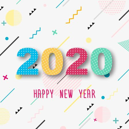 Creative design of a New Year card of 2020 on a modern background. Bright poster in the style of Memphis. Base of geometric elements and color numbers. Vector illustration. Zdjęcie Seryjne - 129363957