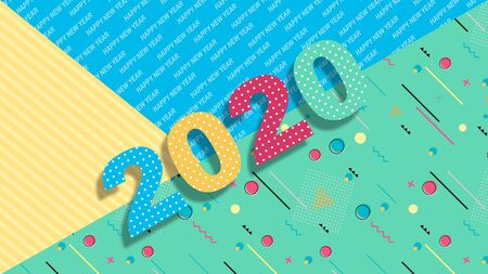 Creative design of a New Year card of 2020 on a modern background. Bright poster in the style of Memphis. Base of geometric elements and color numbers. Vector illustration. Zdjęcie Seryjne - 129363964
