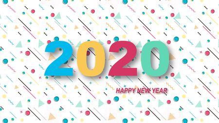 Creative design of a New Year card of 2020 on a modern background. Bright poster in the style of Memphis. Base of geometric elements and color numbers. Vector illustration. Ilustracja