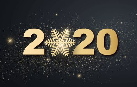 Christmas holiday design with paper cut snowflake style. Refined dark background with gold greeting text. Vector Banco de Imagens - 131981971