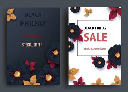 Black friday sale vertical banners with autumn leaves and cut flowers. Vector illustration Zdjęcie Seryjne - 134845975