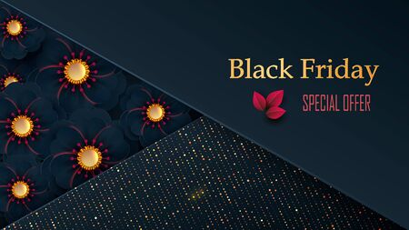 Black Friday Sale poster with flowers on a dark background with a square frame and a bright pattern. Vector illustration