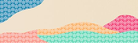 Stylized Japanese pattern. Cherry flowers and multicolored geometric shapes in the style of collage for icon, symbol, background, cover design. Horizontal banner. Vector Ilustracja