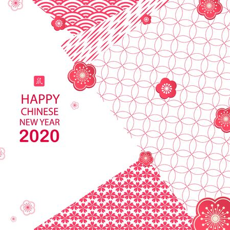 Bright banner with Chinese elements for 2020 New Year. Patterns in a modern style, geometric decorative ornaments. Vector Zodiac Sign Rat
