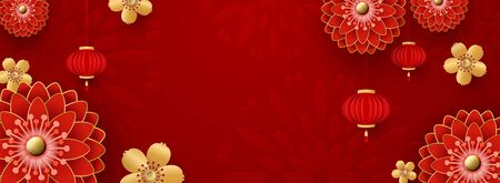 Chinese Greeting Card for 2020 New Year. Red chrysanthemums and golden sakura flowers, clouds and Asian elements on a red background. Ilustracja