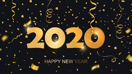 Happy new year 2020 text design. Conceptual design. Vector modern illustration. Golden luxury inscription. Christmas background with lens flare, stars, serpentine,. Ilustracja