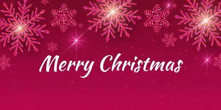 Christmas holiday design with paper cut snowflakes style. Delicate raspberry background with greeting text. Vector illustration Standard-Bild - 134845985