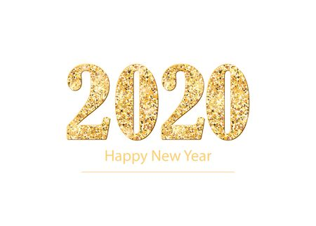 2020 Happy New Year background with golden glitter number. Christmas winter holidays design. Seasonal greeting card, calendar, brochure template.Vector