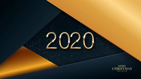 Happy new year 2020. Gold numbers on a black background, textured with shimmering glitter. Festive event banner with hartphone elements. Modern design for poster, flyer, cover .Vector Ilustracja