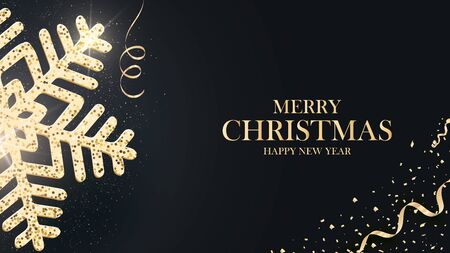 Christmas holiday design with paper cut snowflake style. Refined dark background with gold greeting text.