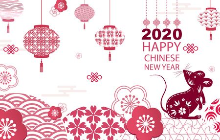 Bright banner with Chinese elements of 2020 new year. Patterns in modern style, geometric decorative ornaments. Vector illustration.Hieroglyph rat Ilustrace