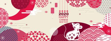 Bright banner with Chinese elements of 2020 new year. Patterns in modern style, geometric decorative ornaments. Vector.Hieroglyph rat