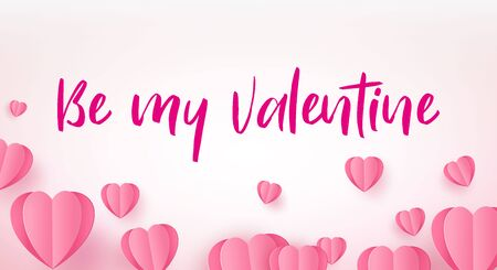 Pink paper elements in the shape of a heart flying on a pink background. Symbols of love for happy women, mother s day, valentines day, birthday greeting card design. Ilustracja