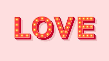 Love.Vector retro 3d font 80s style modern typography. Motivational poster design, retro colorful typography font. Cool vintage font for a party poster, t-shirt, decoration, book, postcard, banner, print, industrial, promotion, offer. Çizim