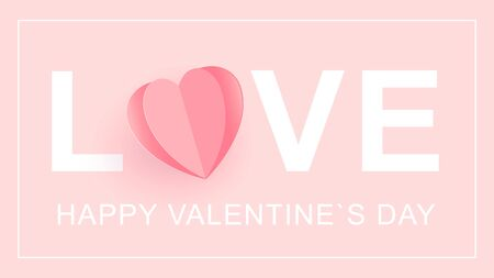 LOVE Happy Valentine s Day card. Word love with a heart cut out of paper. Font type, vector Ilustracja
