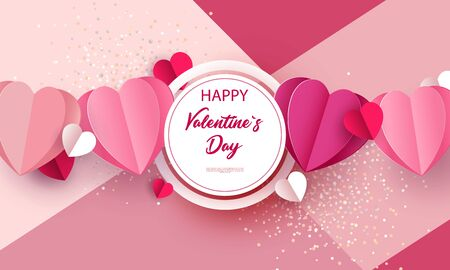 Valentines day concept background. Vector illustration of 3d red and pink paper hearts with white round frame. Cute love sale banner or postcard. Place for your text.