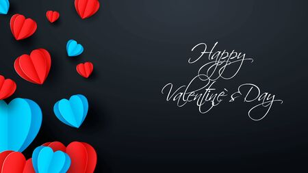 Blue and red paper elements in the shape of a heart flying on a dark background. Vector symbols of love for happy women, mothers day, valentines day, birthday greeting card design. Vector illustration