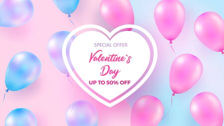 Festive background with helium balloons. Celebrate Valentine s Day, Birthday, Poster, Anniversary Banner, Sale. Realistic decorative design elements. Vector 3d object Ballon with ribbon, pink and blue pearl color.