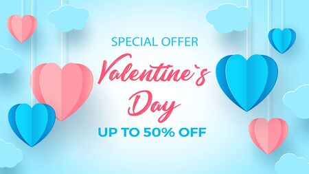 Abstract 3d illustration cut paper of pink and blue heart shape with inscription love and small hearts. Vector colorful greeting card template in paper carving style. Vector illustration