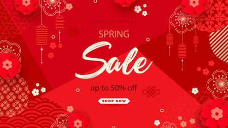Bright sales banner with Chinese elements for 2020 New Year. Patterns in a modern style, geometric decorative ornaments.