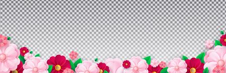 Bright spring flowers on a translucent background. Template for poster, postcard, banner .Vector illustration.