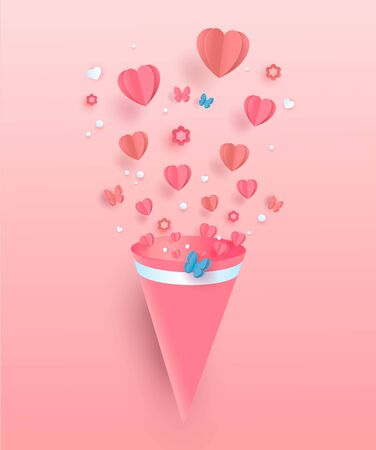Paper flying elements on a pink background. Vector heart shaped love symbols for Happy Women, Mother s, Valentine s Day. Vector