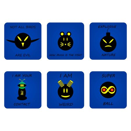 A set of icons expressing a different mood. Cartoon style communication vector icons for web or any design.Pictures for t-shirts.Vector illustration. Zdjęcie Seryjne - 140277905