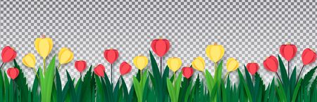Red and yellow crocuses in the grass on isolated on a transparent background. Paper style. Template for banner, poster, presentation. Vector Zdjęcie Seryjne - 141217160