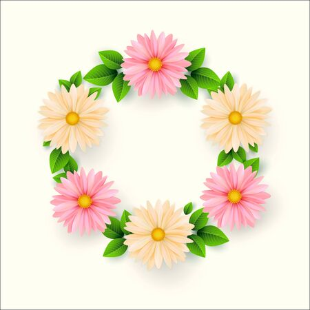 Frame of spring flowers with leaves. Spring Sale Banner.Vector il Ilustracja