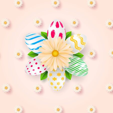 Happy Easter background template with beautiful camomiles and eggs. Vector