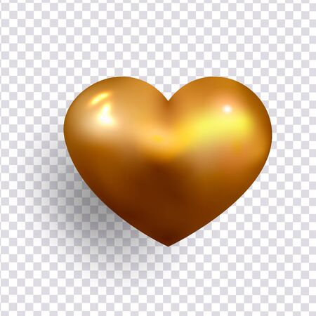 Gold Heart realistic decoration 3d object. Romantic Symbol of Love Heart isolated. Vector illustration Ilustracja