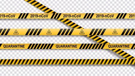 Warning of yellow and black stripes quarantine coronavirus. Isolated on transparent background. Attention Quarantine. Vector i Banco de Imagens - 143484333