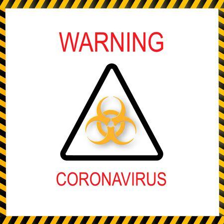 Symbol of biological hazard.Coronavirus.Warning of yellow and black stripes quarantine coronavirus. Vector