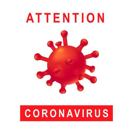 New Coronavirus 2019-nKoV . Covid virus 19-NKP. Background with realistic 3d red viral cells. Symbol of danger. Vector