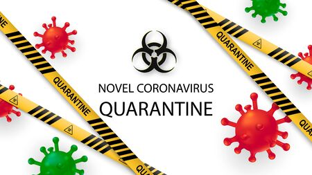 New Coronavirus 2019-nKoV . Covid virus 19-NKP. Background with realistic 3d red viral cells. Symbol of danger. Vector illustration. Zdjęcie Seryjne - 143484343