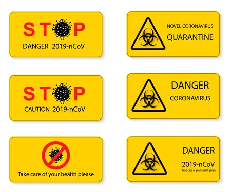 Set of warning stop signs with virus inside, stop symbol with coronavirus, prohibition sign with covid 19, Stop Virus logo, red and black isolated symbol of stopping coronavirus, stopping flu. Vector illustration Zdjęcie Seryjne - 143484361