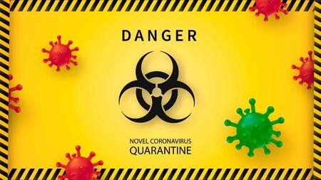 New Coronavirus 2019-nKoV . Covid virus 19-NKP. Background with realistic 3d red viral cells. Symbol of danger. Vector illustration.
