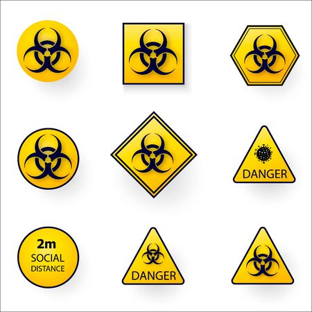 Set of warning stop signs with virus inside, stop symbol with coronavirus, prohibition sign with covid 19, Stop Virus logo, red and black isolated symbol of stopping coronavirus, stopping flu. Vector