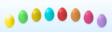 Vector easter decorated eggs in realistic 3d style. Isolated on white, decorative elements for easter holiday design