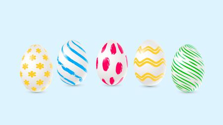 Vector easter decorated eggs in realistic 3d style. Zdjęcie Seryjne - 143484440
