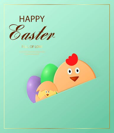 Happy Easter. Easter chick looking at the green background. Template for greeting card. Paper cut style. Ilustracja