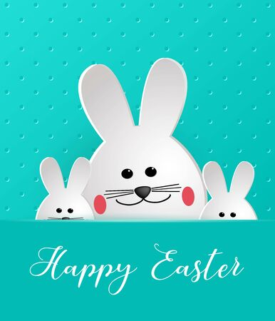 Happy Easter. Cartoon Easter Bunny looking at a green embossed background. Template for greeting card. Paper cut style. Ilustracja