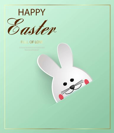 Happy Easter. Cartoon Easter Bunny looking at a green embossed background. Template for greeting card. Paper cut style. Zdjęcie Seryjne - 143484462
