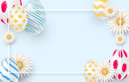 Easter holiday background with 3d easter eggs, daisies and square frame. Imitation of brush strokes.Vector