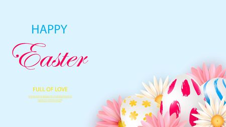 Easter card with realistic 3d eggs on a light background. Vector illustration Place for your text. Decorated eggs with small floral and geometric patterns. Spring flowers. Vector Zdjęcie Seryjne - 143831087