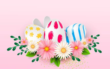Easter card with realistic 3d eggs on a light background. Vector illustration Place for your text. Decorated eggs with small floral and geometric patterns. Spring flowers. Vector Zdjęcie Seryjne - 143831086