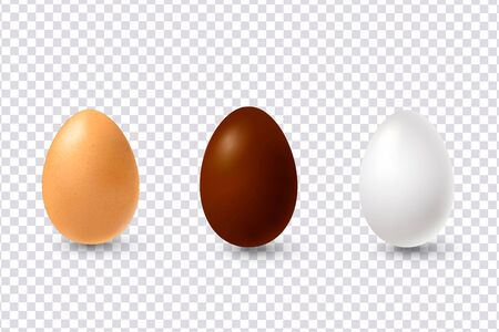 Vector easter eggs in realistic 3d style. Isolated on transparent background, decorative elements for Easter holiday design .Vector Ilustracja