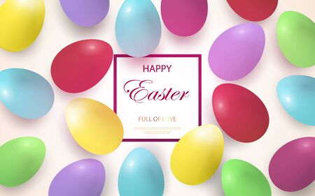 Easter card with multi-colored Easter eggs on a light background. Place for your text. Vector