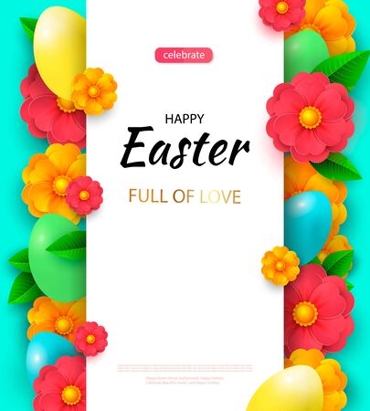 Easter card with white decorated 3D eggs. Ilustracja